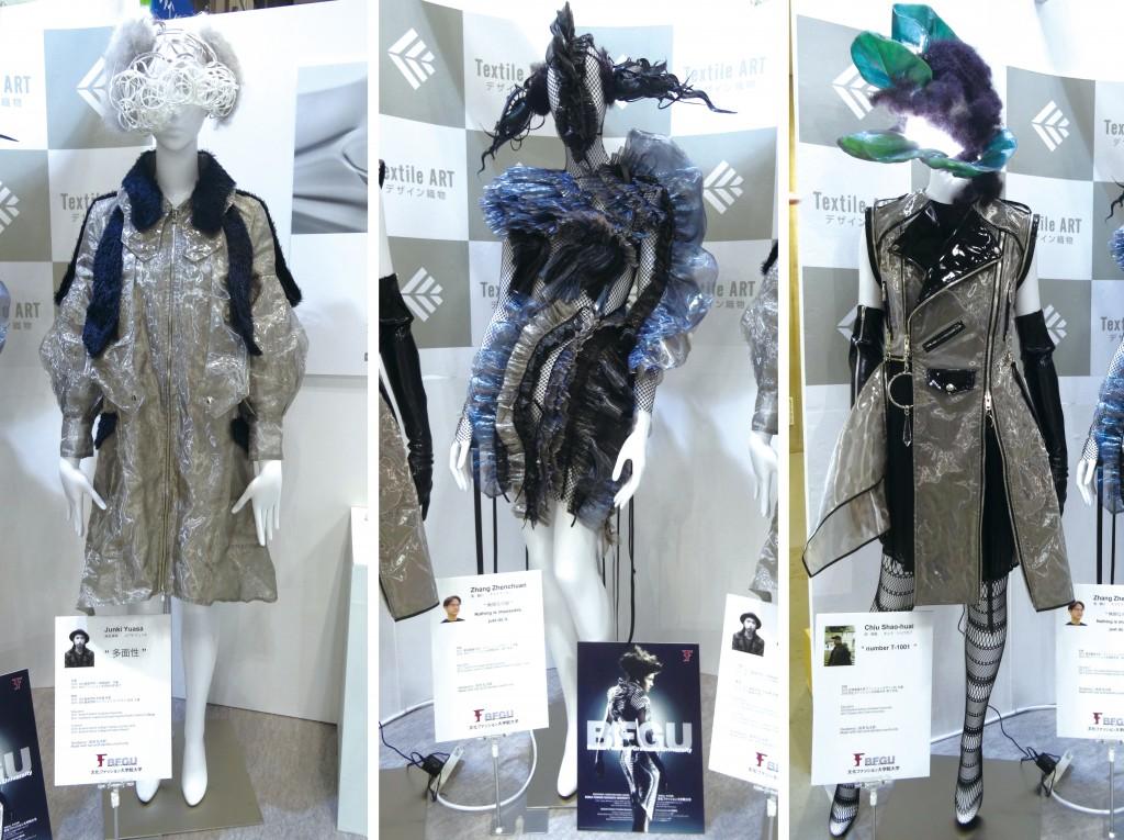 左から10期生(2017年3月修了)の湯浅隼希さん、2年次のチョウ チンセンさん、キュウ ショウカイさんの作品