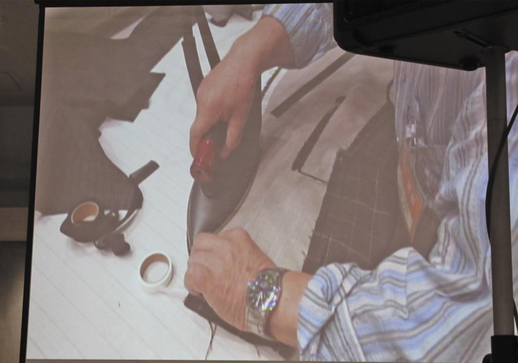 ジャケット半身縫製の実演